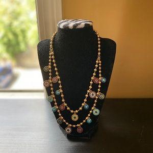 Betsy Johnson Mixed Eye Charm 2 Row Necklace